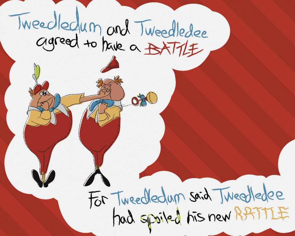 Tweedledum and Tweedledee Children's Book Design Inside Left