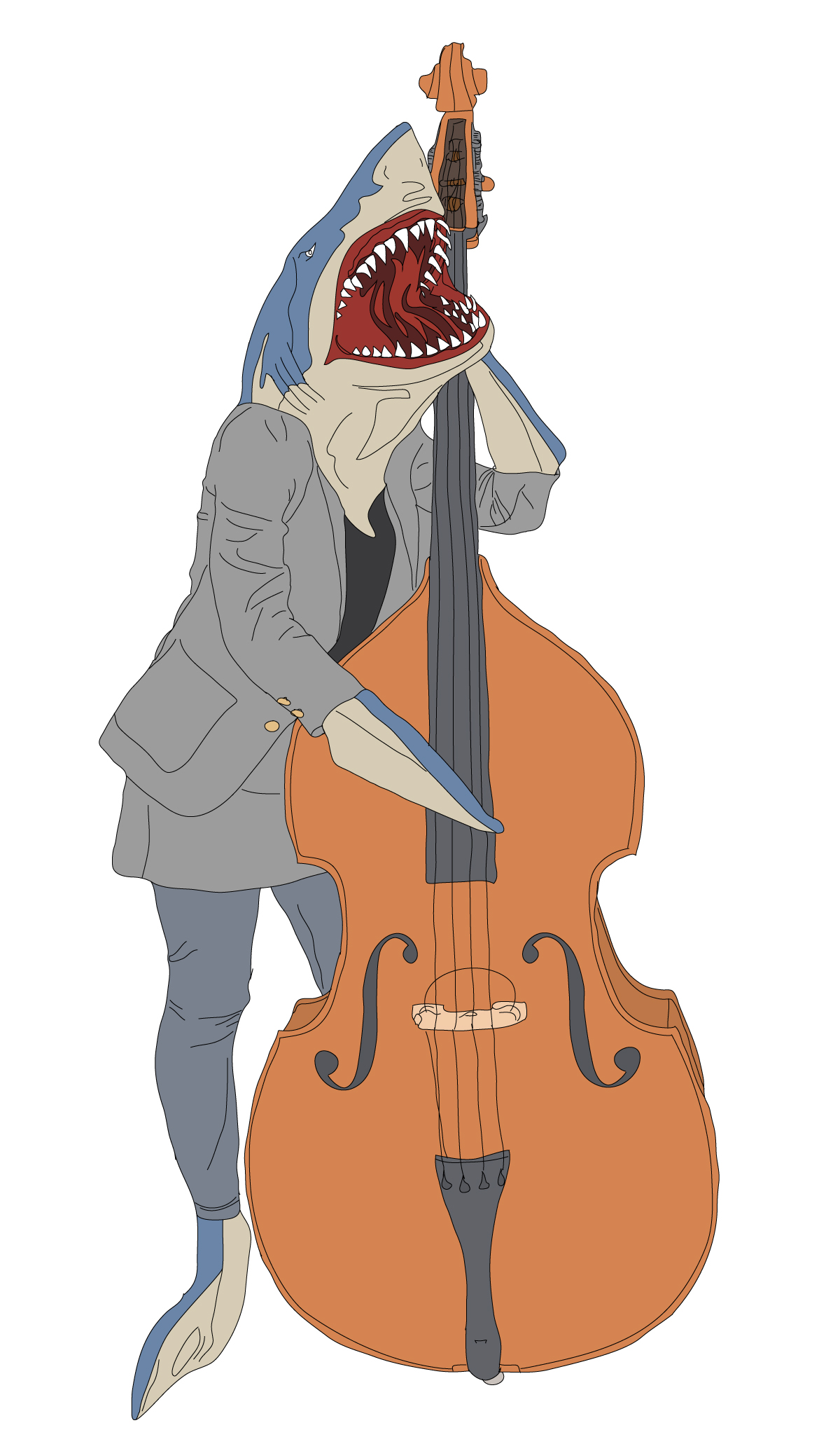Digital Illustration of Surreal Shark Bass Player